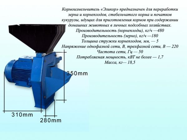 Електрокормоподрібнювач (вик.1) зерноовочі тм электромотор