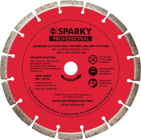Акс.инстр Sparky Алмазный диск с лазерной напайкой 230х28x22,23мм
