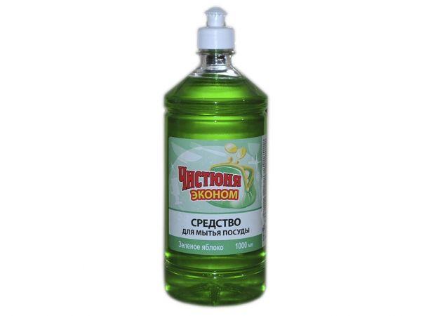 Засіб для миття посуду 1000 мл Зелене яблуко тм чистюня економ