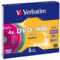 Диск DVD+RW Slim Verbatim 4.7GB, 4x Color (43297)