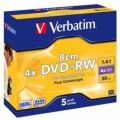 Диск DVD Verbatim mini 1.4Gb 4X Jewel 5шт Matt Silver (43565)