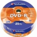 Диск DVD-R 25 Verbatim, 4.7Gb, 16x, Wrap (43808)