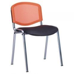 Офисный стул AMF Изо Веб хром сиденье Сетка серая/спинка Сетка оранжевая