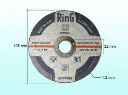Диск відрізний по металу 125х1,2х22.2 ТМ RING