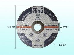 Диск відрізний по металу 125х1,6х22.2 ТМ RING