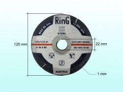 Диск відрізний по металу 125х1,0х22.2 ТМ RING