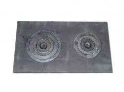 Плита чавунна двокамфорна з кокільними кільцями 700х400 (Дубно)