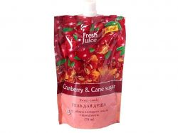Гель для душу 170мл дой-пак (Cranberrycane sugar) 33%маславіт. ТМFRESH JUICE
