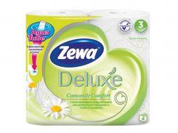 Туалетний папір Deluxe Ромашка (білий), 3 шари, 4 рулони ТМZewa