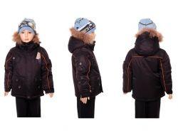 Куртка зимова з капюшоном для хлопчика р.104 чорна ТМКИТАЙ
