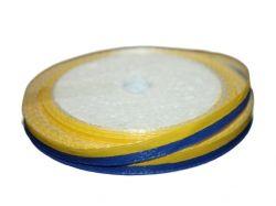 Стрічка атласна 2х кольорова (жовтосиня) 0,6см 23м LAX ТМКИТАЙ