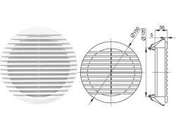 Вентиляц.решітка з фланцем б/кріпл. (кругла) ?150x?120 білий 2202AP ТМMini Max