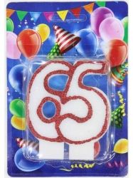 Свічка для торту цифра Ювілейна (контур) 65 років ТМ УКРАЇНА