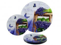 Набір для торта 7пр. скляний Лаванда BLUE S 027 ТМLUMINES