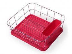Сушарка для посуду 37*33*13,5см. (червоний) 0763B ТМKAMILLE