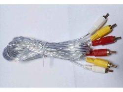 Шнур тюльпан білий з латуними штекерами 3RCA-3RCA 1.2м ТМКитай