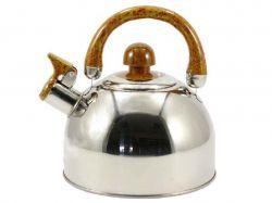 Чайник нерж. 2,0 л зі св. нерж.криш. коричнева ручка ZB 001 ТМZAUBERG