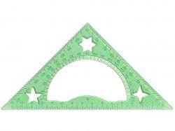 Трикутник 15см 45*90*45, з транспортиром, прозорий пластик 0090 ТМIrbis