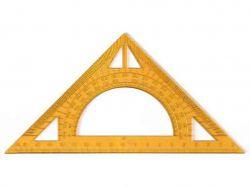 Трикутник 20см 45*90*45, з транспортиром, прозорий пластик 0091 ТМIrbis
