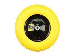 Колесо для тачки поліур. (4,0*8)жов., диск чор.,о/d=16мм,вт.130мм ТМBUDMONSTER