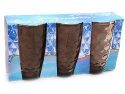 Набір склянок 425мл (3шт) коричневий 533-35 ТМBONADI