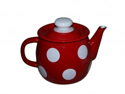 Чайник емальований 1л Білий горох (червоний) ТМIDILIA