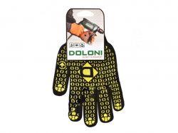 Перчатки робочі 667 чорні з жовтим ПВХ малюнком 10р. ТМDOLONI