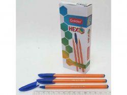 Ручка масляна Goldex HEXO 1101 0,6мм синій (12шт) 1101-bl ТМКИТАЙ