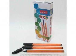Ручка масляна Goldex HEXO 1101 0,6мм чорний (12шт) 1101-bk ТМКИТАЙ
