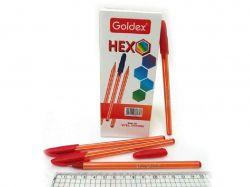 Ручка масляна Goldex HEXO 0,6мм червоний (12шт) 1101-RD ТМКИТАЙ