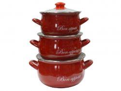Набір ем. посуду 3-предмети кр. скло, Bon appetit (Т)2234С 00070440 ТМINTEROS