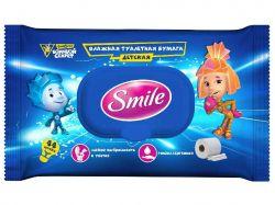 Туалетний папір вологий дитячий Фіксики з клапаном 44шт ТМSmile