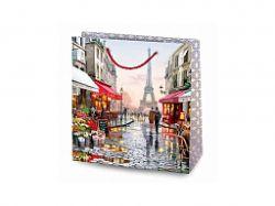 Пакет подарунковий Крафт 24 * 37 * 10см - Париж на білому ТМУПАКОВКИН