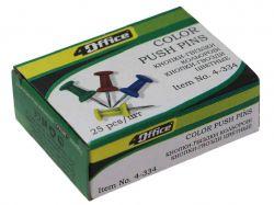 Кнопки-цвяхи 25шт кольорові в асортименті 4-334 ТМ4OFFICE