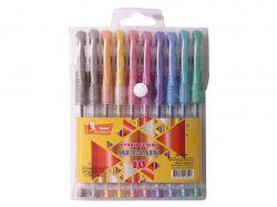 Набір ручок гелевих прогумований грип 10 кольорів Metallic ГР42 ТМУМКА