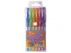 Набір ручок гелевих прогумований грип 6 кольорів Glitter ГР44-2 ТМУМКА