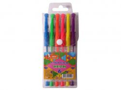 Набір ручок гелевих прогумований грип 6 кольорів Neon ГР44-1 ТМУМКА