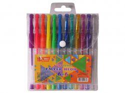 Набір ручок гелевих прогумований грип 66 кольорів Glitter Neon ГР46 ТМУМКА