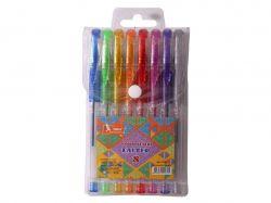 Набір ручок гелевих прогумований грип 8 кольорів Glitter ГР45 ТМУМКА