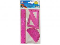 Набір: лінійка 20см трикутник 12см транспортир рожевий 9-602-12 ТМБарвінок