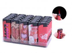 Запальничка пластикова з ліхтариком Love (турбо полумя) №1606-5 ТМSunOPT