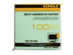 Папір клейкий, 76х76мм, 100 аркушів, жовтий, 8068 ТМScholz