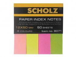 Розділювачі, 12х50мм, 4 кольори по 50 аркушів, паперові, неон, 8071 ТМScholz