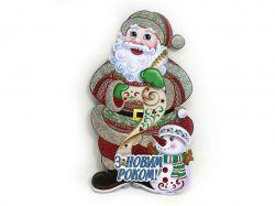 Плакат Дід Мороз зі сніговиком 30см, український напис 9845 ТМКИТАЙ
