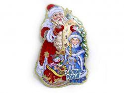 Плакат Дід Мороз зі Снігуронькою 31х20, український напис 9805 ТМКИТАЙ