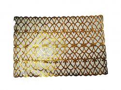 Клейонка настільна мереживна ПВХ 30х46см (прямокутна, золото) ТМИюию