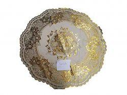 Клейонка настільна мереживна ПВХ 48х48см (кругла, золото) ТМИюию