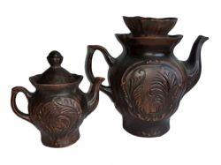Набір чайний 2 предмети Дует 2000мл550мл червона глина ТМТОРСКИЙ
