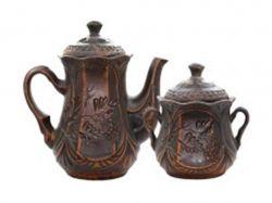 Набір чайний 2 предмети Чайна пара Ажур 900мл600мл червона глина ТМТОРСКИЙ