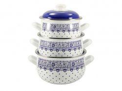 Набір емальованого посуду кришки скло, Ситець білий 3661 A (Т) 84001 ТМINTEROS